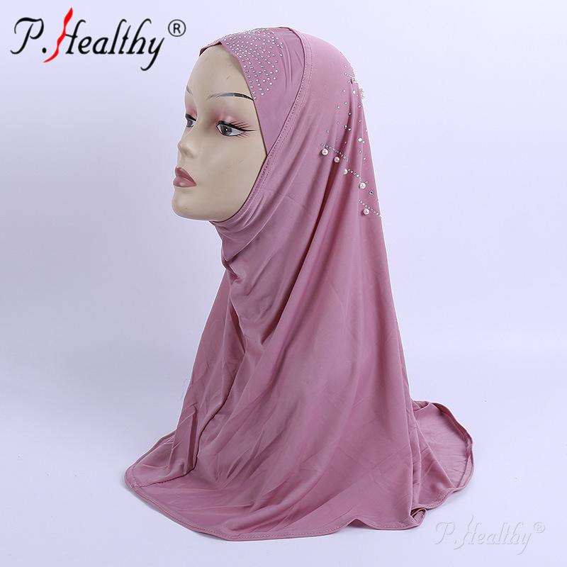 P-здоровый оптовая продажа с фабрики мусульманские женщины шаль каменные бусы плотная Дубай Арабские хиджаб