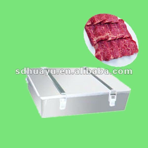 stainless steel meat trays with cover used in slaughtering workshop