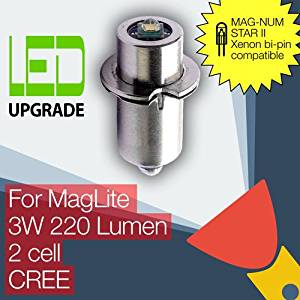 MagLite LED Conversion/upgrade bulb for MAG-NUM STAR II bi-pin MagLite Torch/flashlight 2D/2C Cell CREE XP-G2