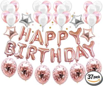 Rose Gold Set Includes Confetti Balloons For Birthday Party Decorations HAPPY BIRTHDAY Banner