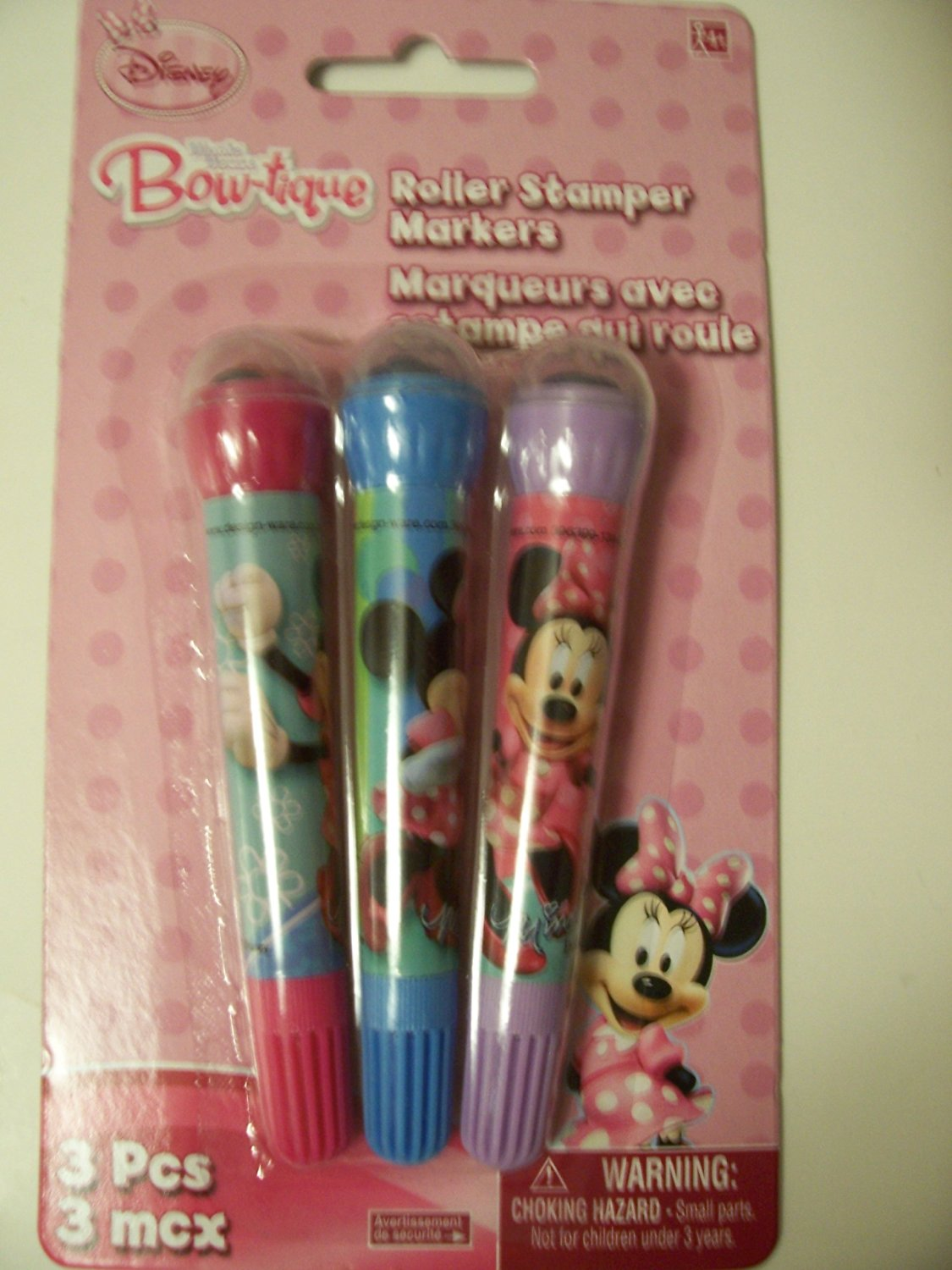 Disney Minnie Mouse Bow-Tique Set of 3 Roller Stampers Markers ~ Pink, Blue, Purple