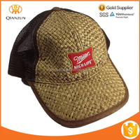 2015 New Style Brown Straw Trucker Mesh Snapback Baseball Cap