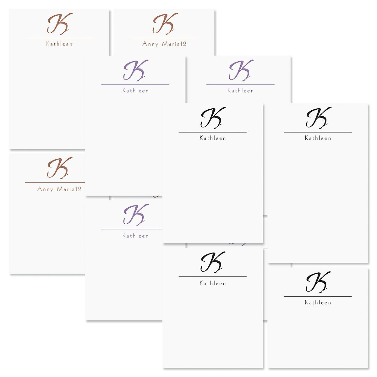 "Inspirational Personalized Notepad Set - 3 Color Choices, Set of 4 100-sheet pads, Add Your Name and Initial, Largest pad 4-1/4"" x 6-3/4"", Personalized Stationery, Graduation"