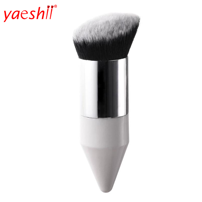 Yaeshii 2019 New Design Gold Silver Chubby Pier Oblique makeup Brushes Angled Oblique Foundation Brush for lady