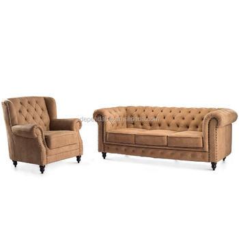 Furniture Living Room Sofa Luxury Tufted Nubuck Leather Set