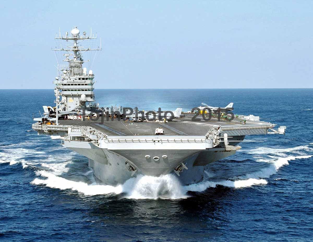 USS George Washington (CVN 73) makes a speed run in the Atlantic (8.5 x 11 Print)
