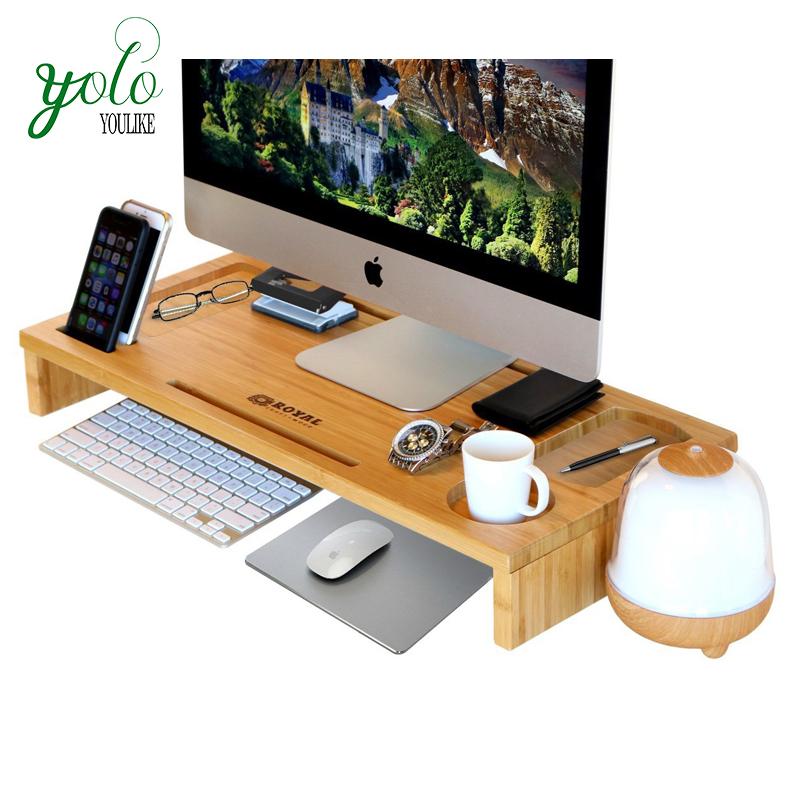 Computer Monitor Stand/Riser Bamboe Laptop Stand en Bureau Organizer