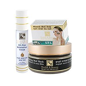 H&B Dead Sea Minerals Kit : Oil-Free Moisturizer Cream, Purifying Mud Mask for Sensitive & Acne Skin, Mineral Mud Soap
