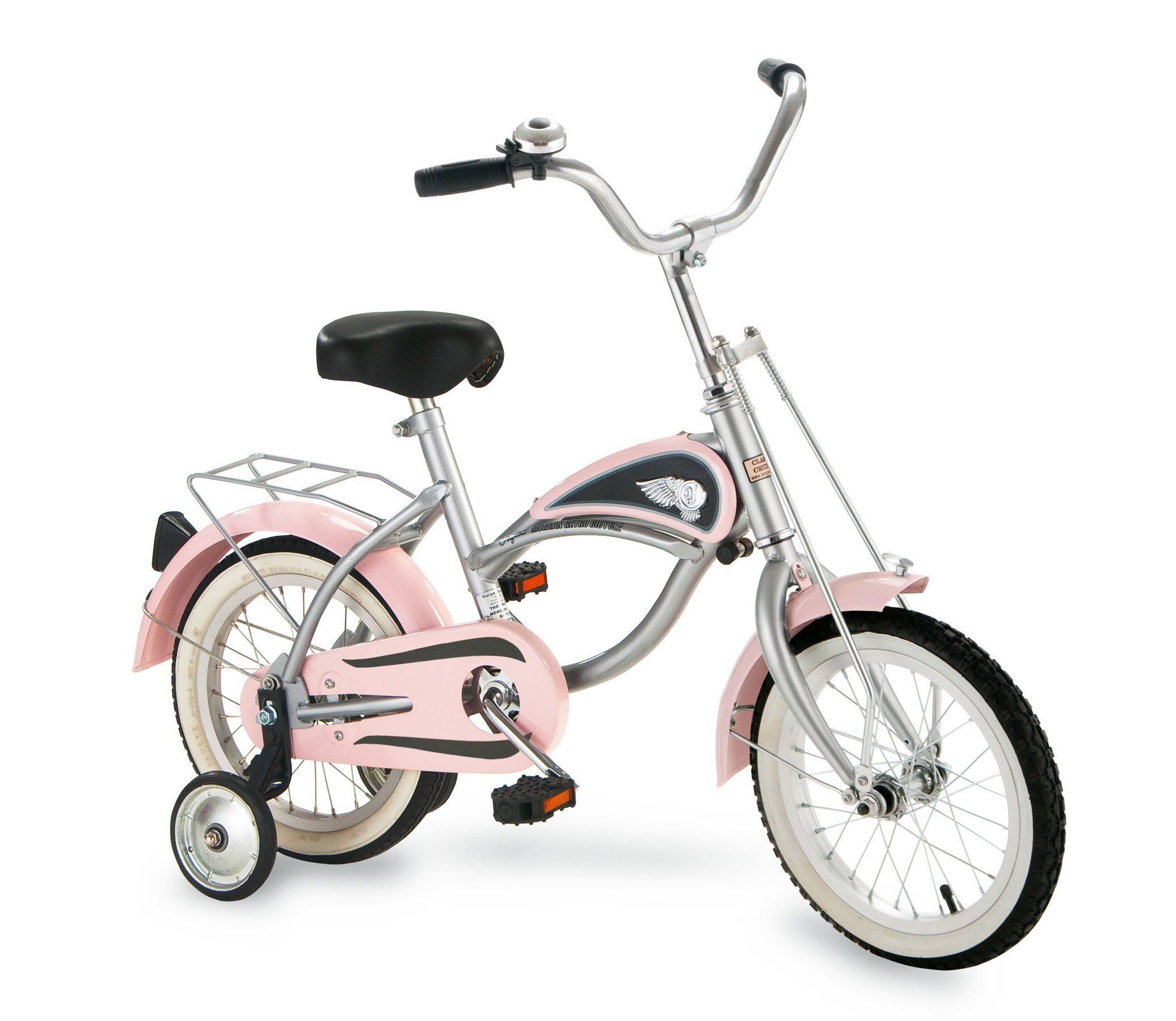 """Morgan Cycle 14"""" Cruiser Bicycle with Training Wheels, Pink"""