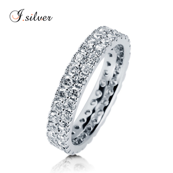 925 Sterling Silver CZ Eternity Ring wedding jewelry R500436