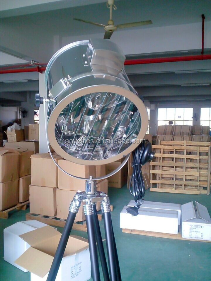Large Industrial Spotlight Tripod Wooden Floor Lamp
