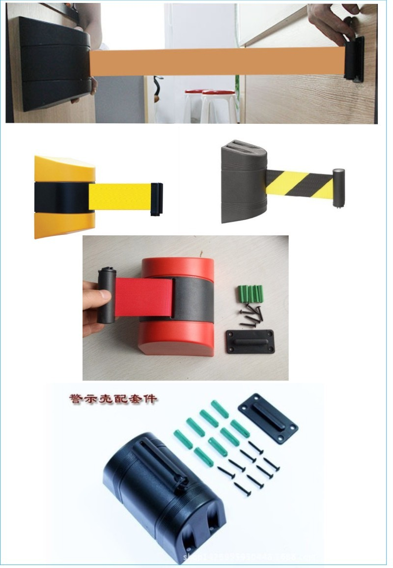 wall mounted retractable tape barrier for bank queue line separator