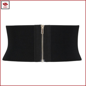 Women Sexy Wide Belt Elastic Waist Belt Cinch Stretch Waistband Ladies Zipper Buckle Wide Stretch Elastic Belt
