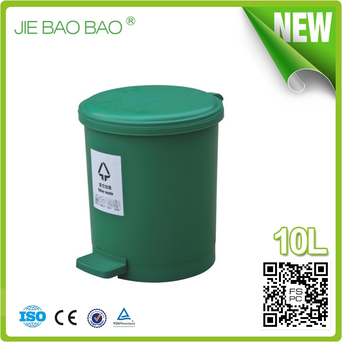 High Quality round dustbin logo Pedal Operated hotel article waste container plastic bucket 10L For Ladies Toilet