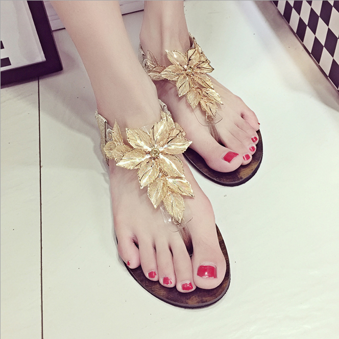 W72160G the new summer 2016 ladies fancy transparent leaves flip jelly sandals flat sandals for ladies pictures