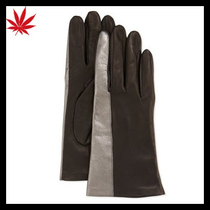 men's two tone winter leather hand gloves
