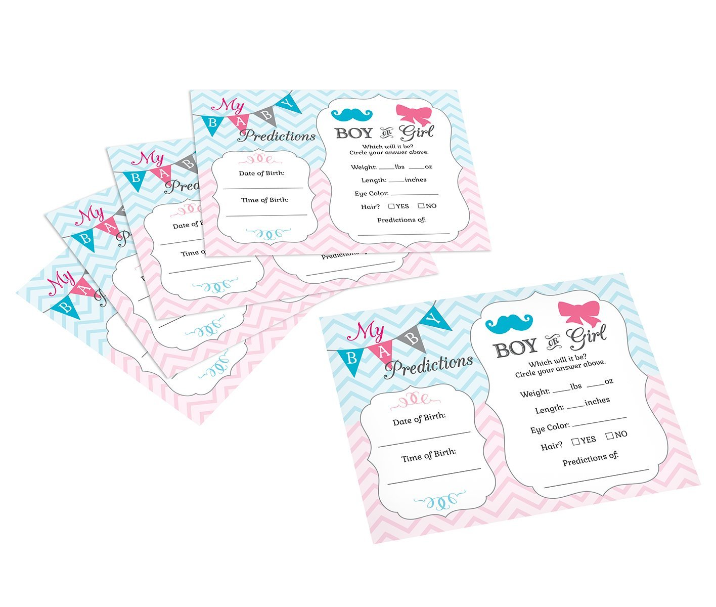 "Lillian Rose Baby Gender Reveal Prediction Cards, Pink/Blue/White, 5.5"" x 4.25"""
