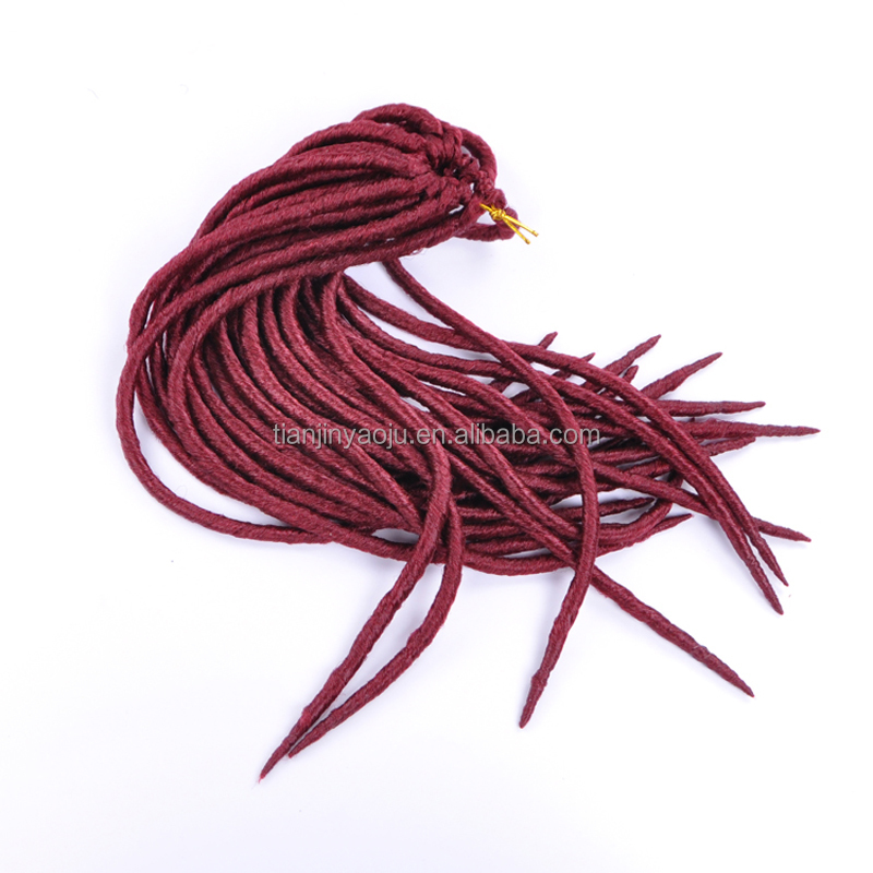 "18"" synthetic wholesale soft dread locks faux locs kinky twists hair hollow braid dreadlocks crochet hair extensions china"