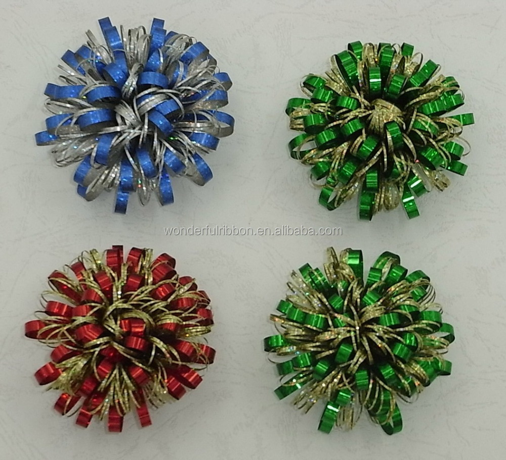 christmas decoration Fancy Bows /Fancy Ribbon Firework Bow ,Curling bow and ribbon eggs for gift and holiday decoration