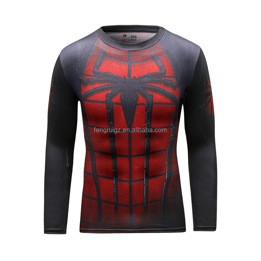 Guangzhou 2016 Polyester Spandex Sport Shirt / Superhero T-shirt Avengers Marvel Super Heroes Superman Mens Compression Tees Top