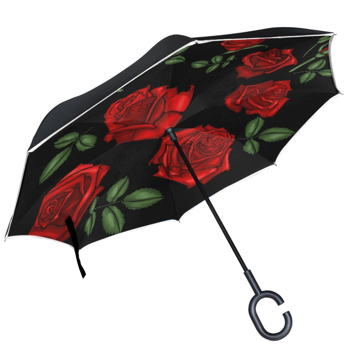 ALAZA Red Roses Embroidery Valentine Love Inverted Umbrella Double Layer Windproof Reverse Folding Umbrella for Car With C-Shape Handle