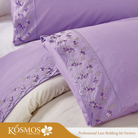 HOME purple embroidered bed sheet 100% cotton lace bedding sets