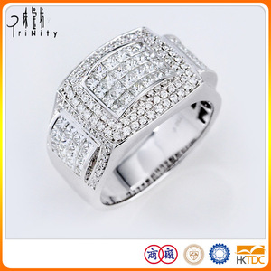 PT900 Platinum Luxurious Diamond Finger Rings For Women Men