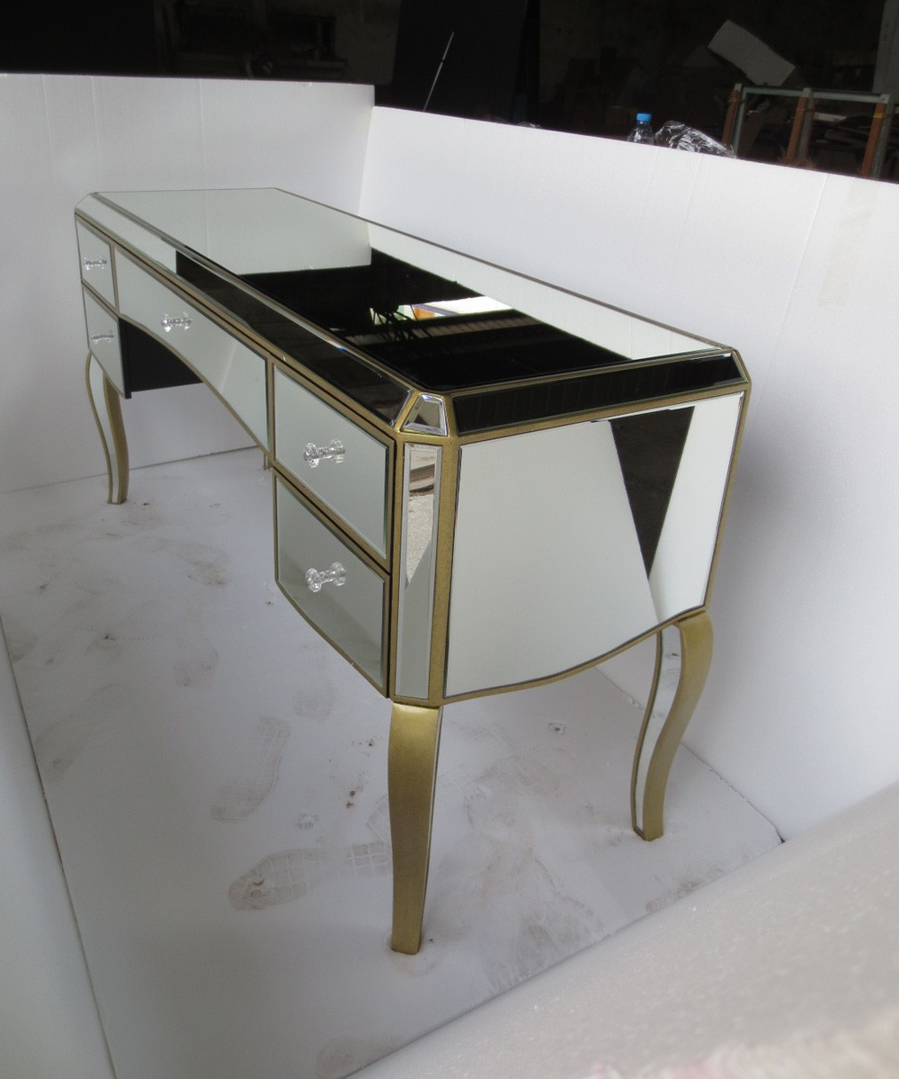 Antique mirror vanity table - Hot Mirrored Dressing Table Furniture With Antique Gold Wood Rim