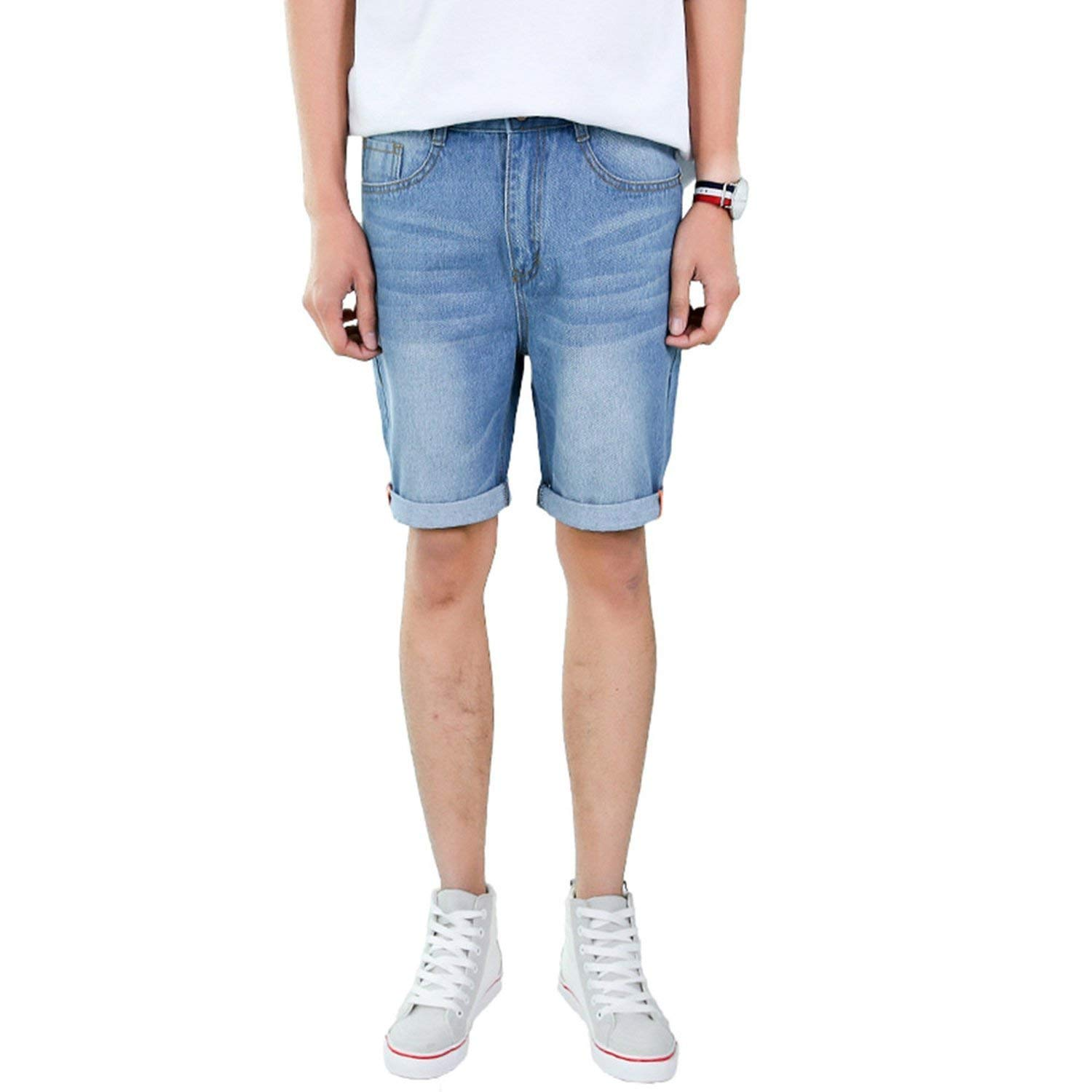 Summer Casual Mens Denim Shorts 2018 Fashion Slim Fit Straight Knee-Length Five-Point Jeans Male Classic Harajuku Streetwear