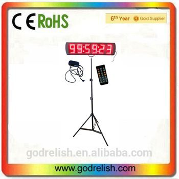 Large LED Sports Timer 6 Digit 5 Inch Display marathon race clock led timer sports timer display