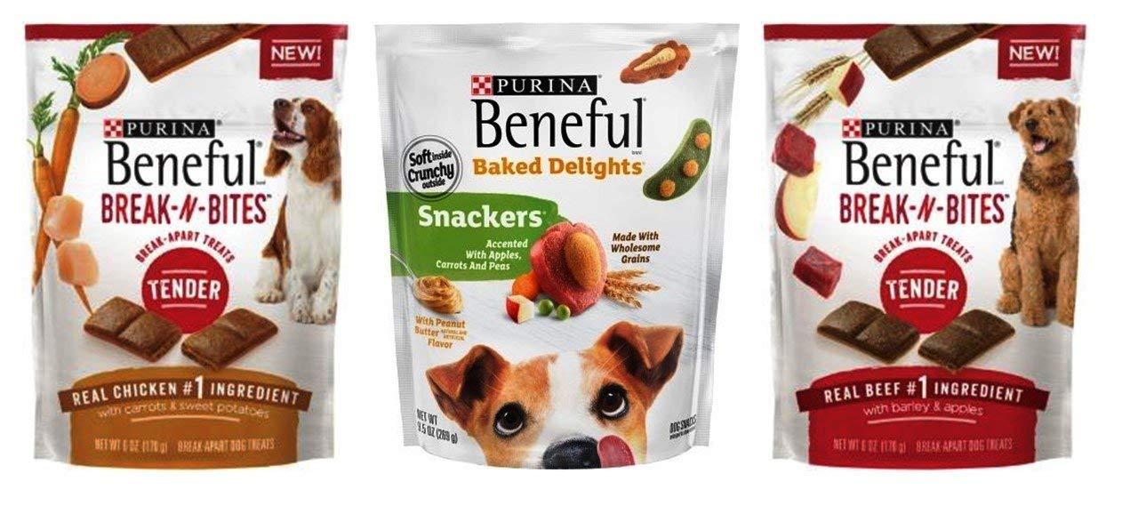 Purina Beneful Treats Dog Snacks 3 Flavor Variety Bundle, 1 each: Break-N-Bites Chicken, Snackers Peanut Butter, Break-N-Bites Beef, 6-9.5 ounces