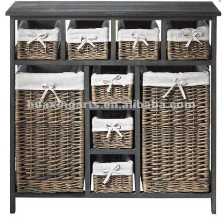 En bois mur de la chambre armoire avec tiroir en rotin artisanat en osier id - Meubles en rotin et osier ...