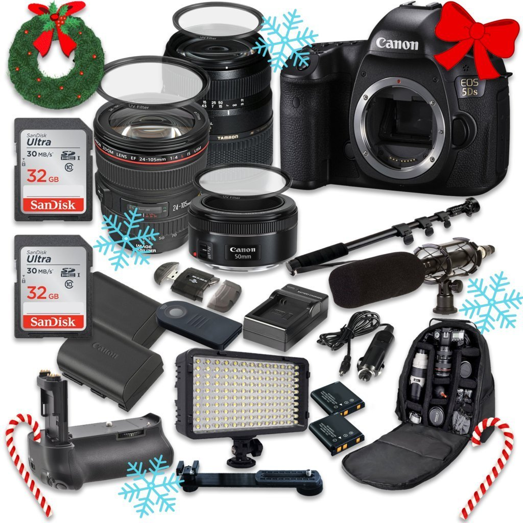 Canon EOS 5DS 50.6MP Full Frame CMOS Digital SLR DSLR Camera w/ EF 24-105mm f/4 L IS USM Lens + Tamron AF 70-300mm f/4.0-5.6 + EF 50mm f/1.8 STM Lens + Holiday Accessory Bundle