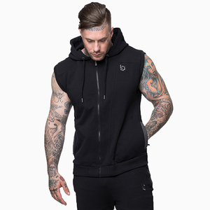Custom Mens sleeveless hoodie/Plain Gym sleeveless hoodie