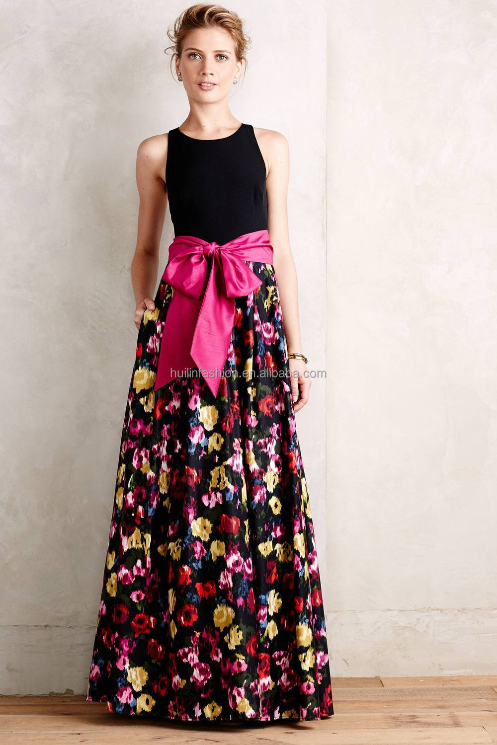 4c45b7978302 women casual one piece dress in floral print fancy new design maxi dresses