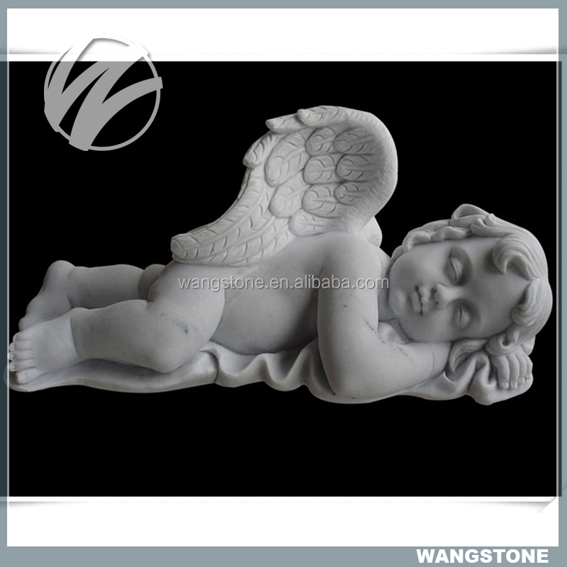 White sleeping little angel sculpture