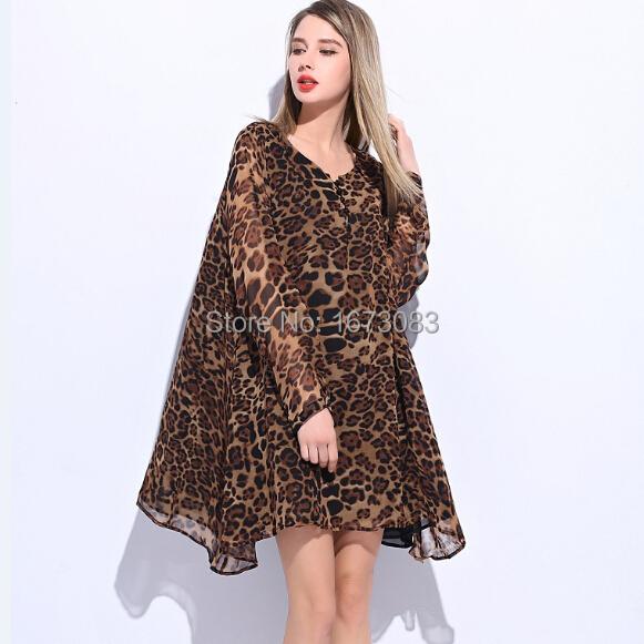 3ca2c203207 Super 2015 New vestido leopardo chiffon dress casual plus size robe femme  fat pregnant women clothing leopard print dresses