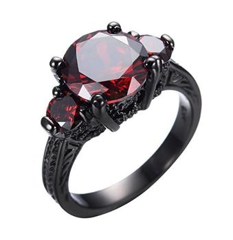 vlove hot sale 925 sterling silver garnet engagement rings black gold filled fashion rings wholesale - Garnet Wedding Rings