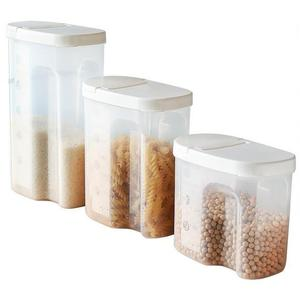 BPA Free Kitchen Food Cereal Storage Container with Airtight Lid Pouring Mouth Mearsure Scale Keeper