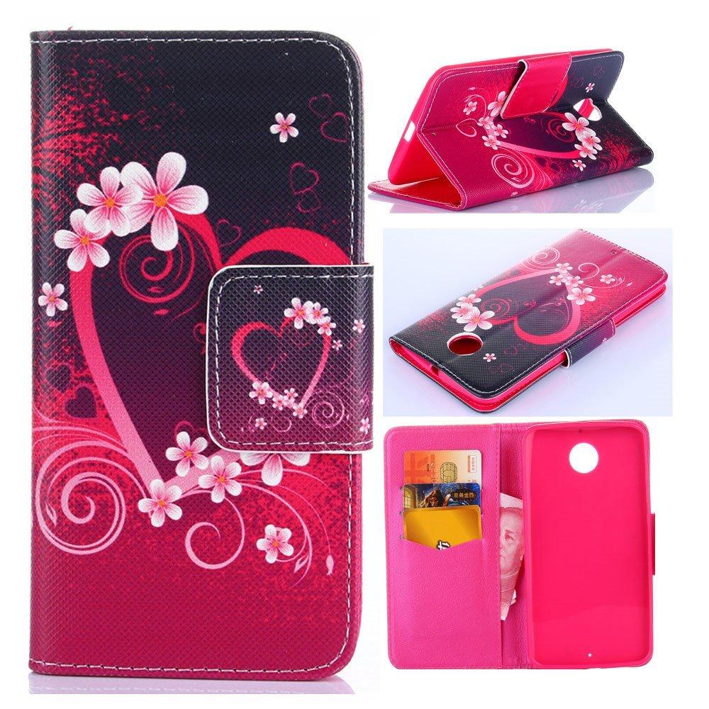 Nexus 6 Case,Nexus 6 Wallet Case,XYX [Kickstand] Fashion [Red Love Heart] Premium PU Leather Wallet Case With Stand Flip Cover for Google Nexus 6 / Motorola Nexus 6 (2014 Release)
