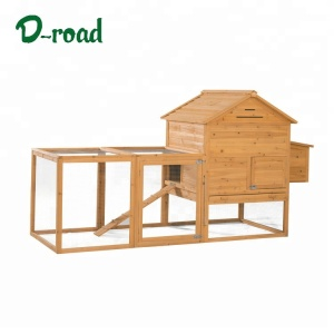 Multi function pet house wooden chicken coop with metal cage and nesting box