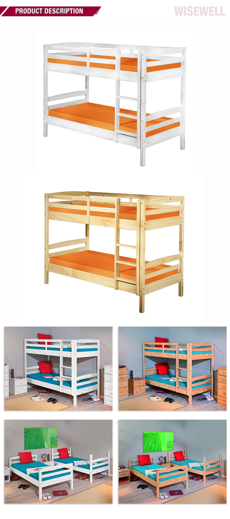 W-B-3530 wood double  frame designs bunk beds
