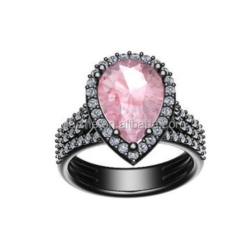 fashion cubic zirconia factory pink zirconia 1 gram gold ring price in dubai