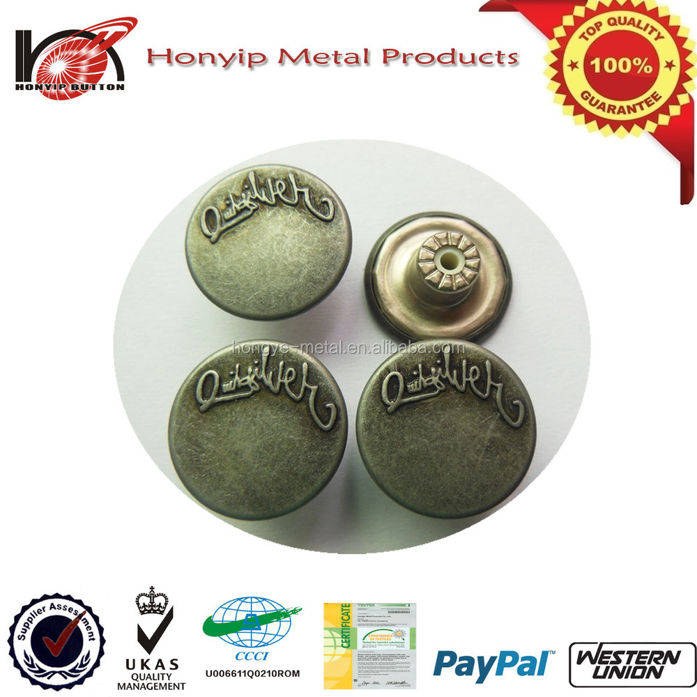 High Quality Fashion Metal Button For North Face Jackets