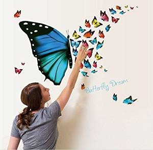 """Amaonm® Removable Cartoon PVC 3D DIY Colorful Butterfly Wall Decal & Lettering """"Butterfly Dream"""" Wall Stickers Murals Home Wall art Decor for Kids room Girls Bedroom Bathroom"""