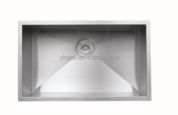 Single bowl handmade square used kitchen sink 304 stainless steel