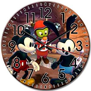 Round Wall Clock Frameless Decorative Disney Epic Mickey Silent Arabic Numbers Extreme 10 Inch / 25 cm Diameter