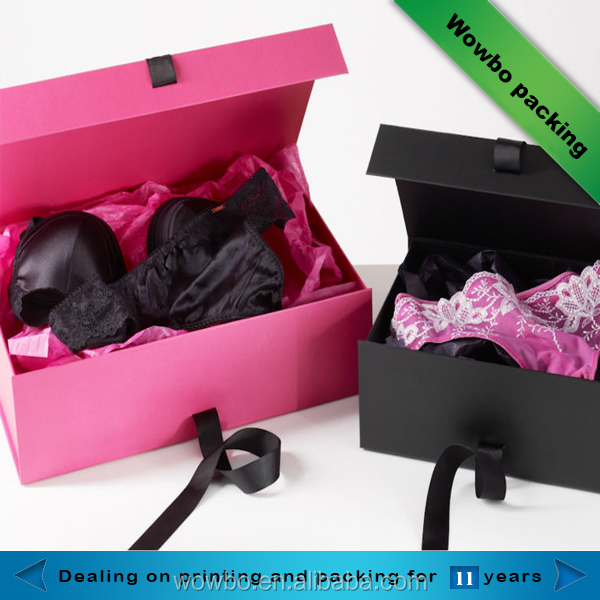 Pink close ladies bra packaging box paper bra packaging box with ribbon