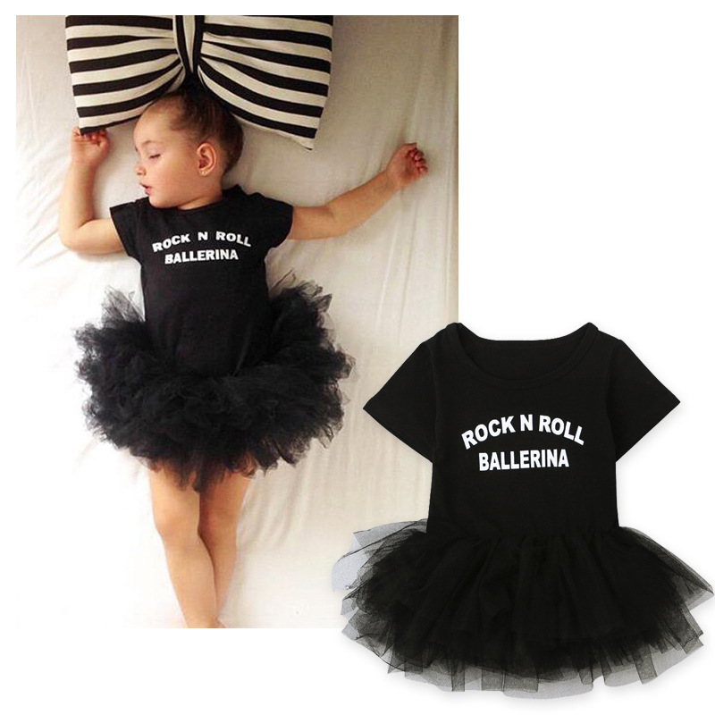 Newborn baby girl romper dress for 0-3 year girl clothing summer short sleeve black lace baby tutu romper