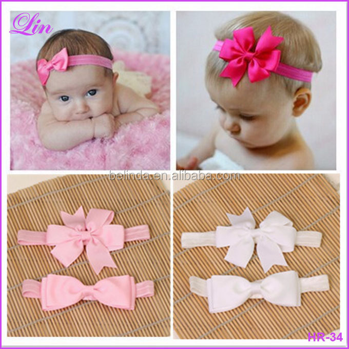 elastic bands ribbon bows kids infant baby flower hair band